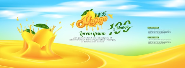 Mango juice advertising banner ads template design