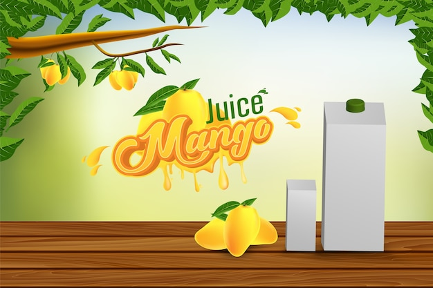 Mango juice advertising banner ads vector background design