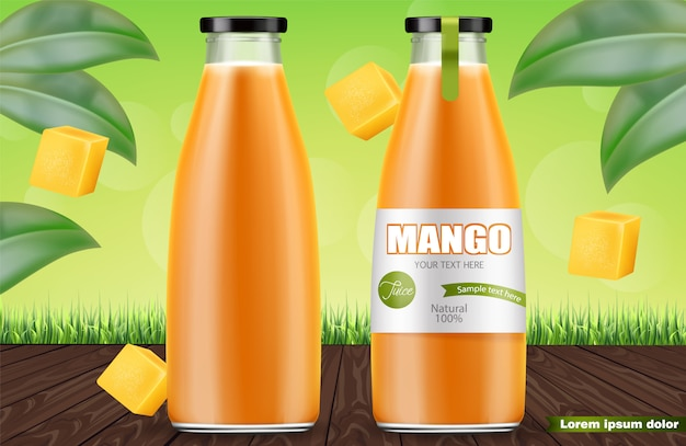 Mango juice bottles
