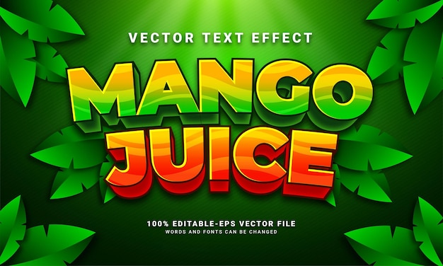 Mango juice editable text style effect themed natural drink