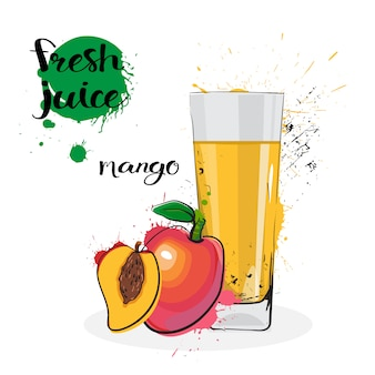 Mango juice fresh hand drawn watercolor fruits and glass on white background