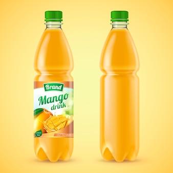 Mango juice package set in 3d illustration