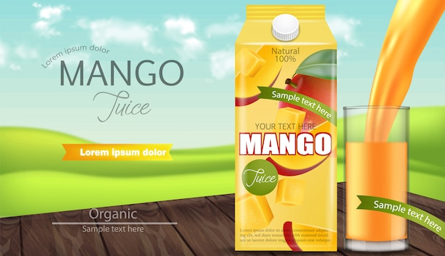 Mango juice packaging banner