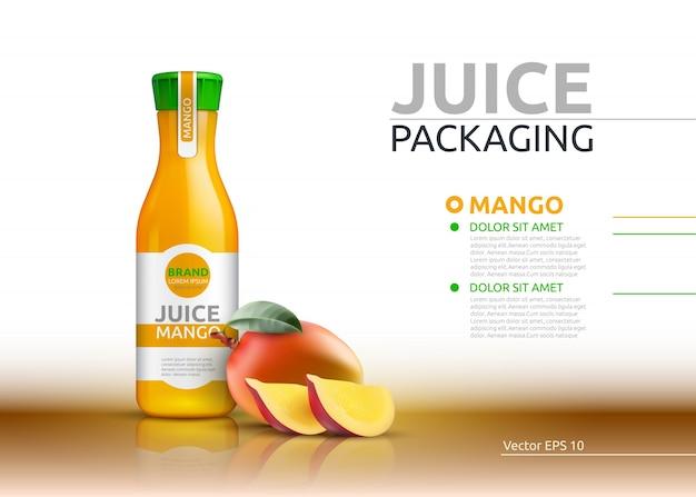 Mango juice packaging realistic vector mock up.