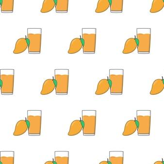 白い背景の上のマンゴージュースのシームレスなパターン。マンゴーのテーマのベクトル図