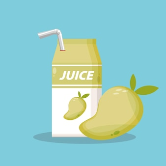 Mango juice with box packaging icon vector