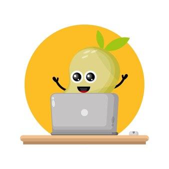 Mango laptop cute character logo