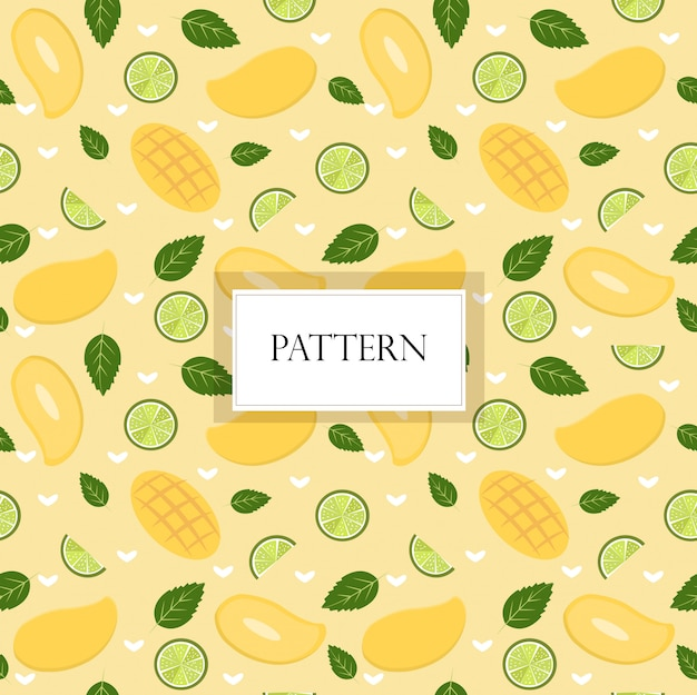 Mango and lemon seamless pattern