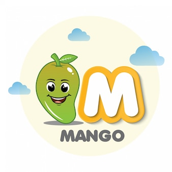 Mango mascot with letter m