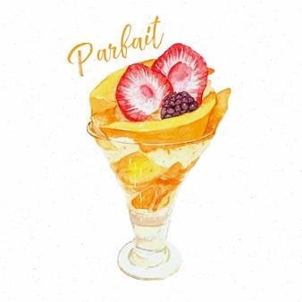 Mango patfait dessert hand draw sketch water color.