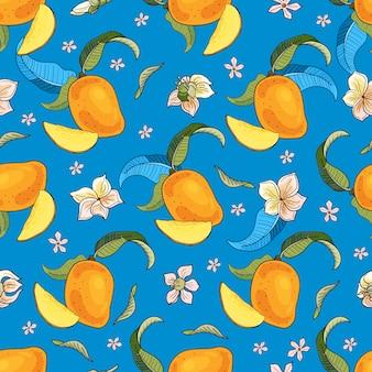 マンゴー。黄色と赤のトロピカルフルーツと青の背景に個のシームレスなパターン。明るい夏のイラスト。