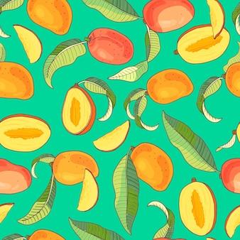 マンゴー。黄色と赤のトロピカルフルーツと緑の背景の部分とのシームレスなパターン。明るい夏のイラスト。