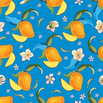 Mango.seamless pattern with yellow and red tropical fruits and pieces on blue background.bright summer  illustration.