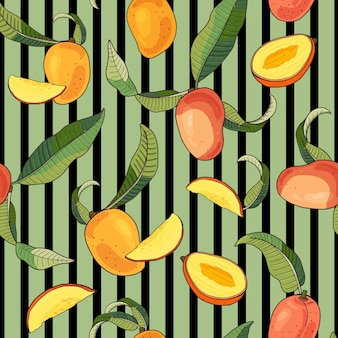 Mango.seamless pattern with yellow and red tropical fruits and pieces on green stripedbackground.bright summer  illustration.