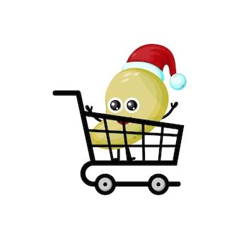 망고 쇼핑 크리스마스 귀여운 캐릭터 로고
