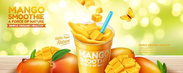 3dイラストのボケグリーンキラキラ背景にマンゴースムージーバナー広告