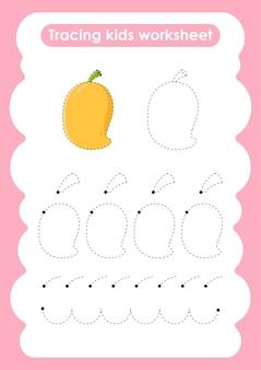 子供のための練習ワークシートを書いたり描いたりするマンゴートレースライン