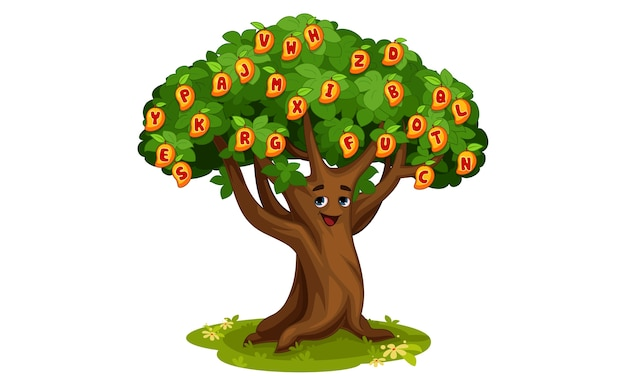 Mango tree of alphabets cartoon illustration