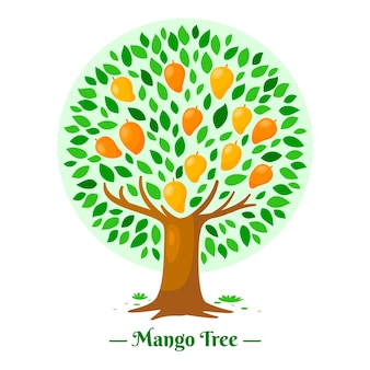 Mango tree in flat design