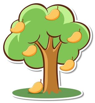 Un adesivo albero di mango su sfondo bianco