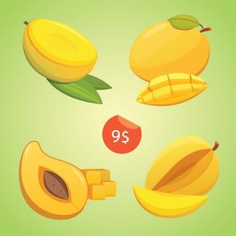 Манго желтый плод изолированные