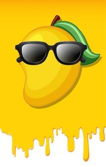 Mango on yellow juice texture background