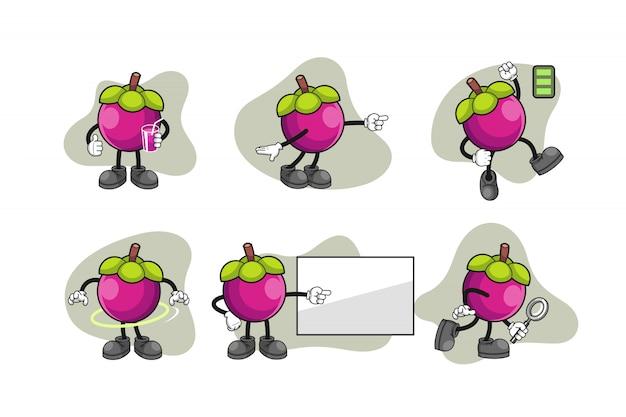 Mangosteen cartoon character set