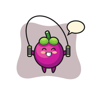 Mangosteen character cartoon with skipping rope , cute style design for t shirt, sticker, logo element
