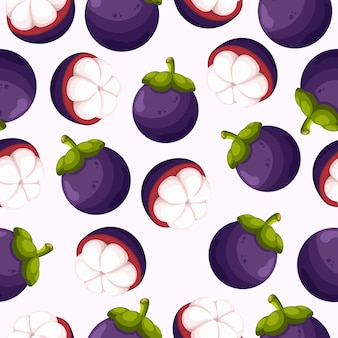 Mangosteen fruit seamless pattern