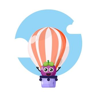 Mangosteen hot air balloon cute character mascot