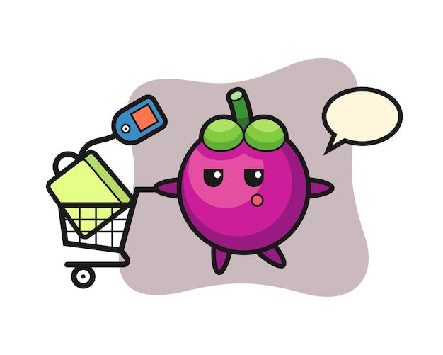 Мультфильм иллюстрация мангостина с тележкой для покупок, милый стиль дизайна для футболки, стикер, элемент логотипа