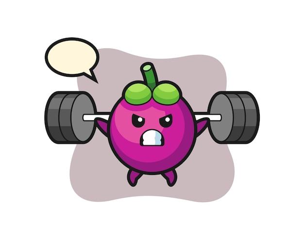 Mangosteen mascot cartoon with a barbell, cute style design for t shirt, sticker, logo element