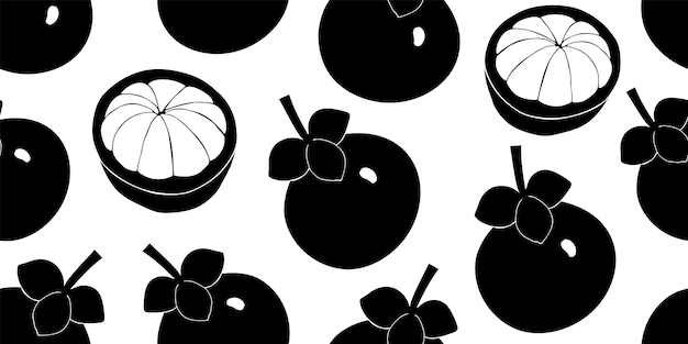 Mangosteen seamless pattern. hand drawn fruit illustration.