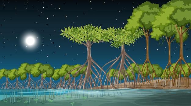 Сцена пейзажа мангрового леса ночью