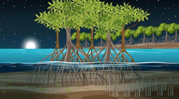 Scena del paesaggio della foresta di mangrovie di notte