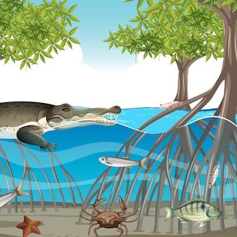 Scena della foresta di mangrovie di giorno con animali nell'acqua