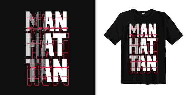 マンハッタンの抽象的なタイポグラフィtシャツデザイン