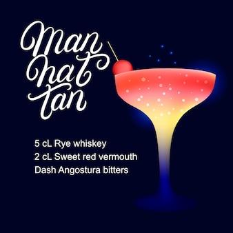 Manhattan alcohol cocktail recipe.