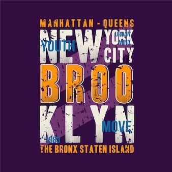 マンハッタン、ブルックリン、ニューヨーク市のレタリンググラフィックtシャツタイポグラフィデザイン抽象