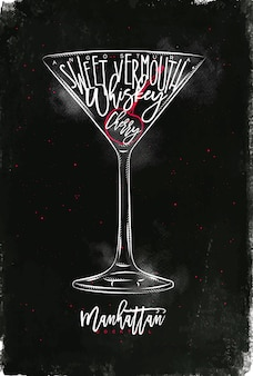 Manhattan cocktail lettering angostura, sweet vermouth, whiskey, cherry in vintage graphic style drawing with chalk and color on chalkboard background