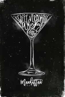 Manhattan cocktail with lettering on chalkboard style