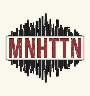 Manhattan new york graphic, t-shirt design, tee print, typography, emblem. vector illustration.