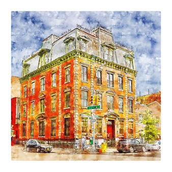 マンハッタンニューヨーク水彩スケッチ手描きイラスト