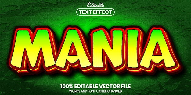 Mania text, font style editable text effect
