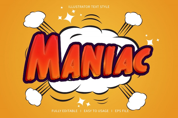 Maniac, text style font effect  red gradation yellow