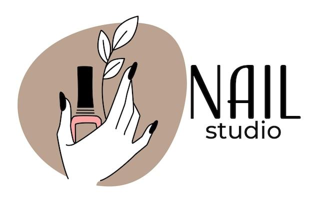 네일 스튜디오나 미용실에서 매니큐어와 페디큐어 절차. 세련된 손톱과 꽃 가지가 있는 여성의 손이 있는 격리된 로고. 텍스트가 있는 엠블럼 또는 레이블, 플랫 스타일의 벡터