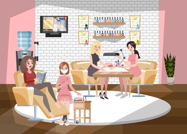 매니큐어 및 페디큐어 살롱 인테리어. 앉아있는 여자