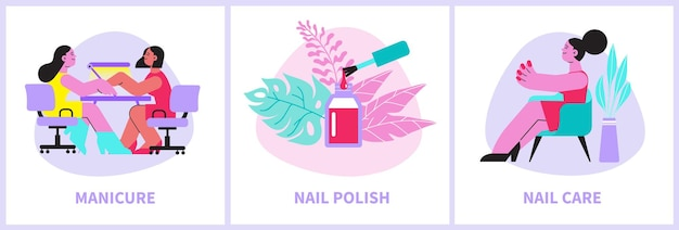 Manicure compositions set in flat style
