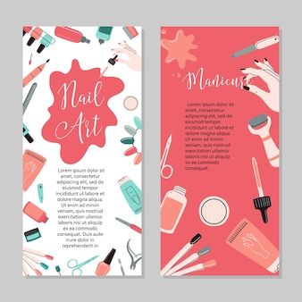 Manicure concept. beauty studio and salon. site header, banner, business card, brochure and flyer.vector cartoon illustration