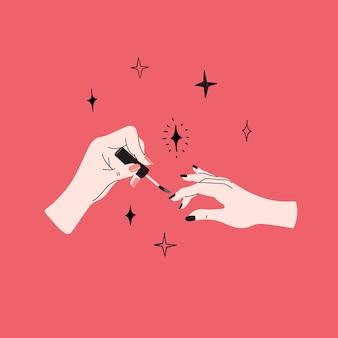 매니큐어 개념 소녀는 집 네일 스튜디오 살롱에서 다른 여성에게 손톱을 그립니다.